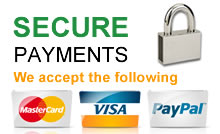 Secure Online Payments - we accept Visa, Master Card, AMEX and Diners Club cards